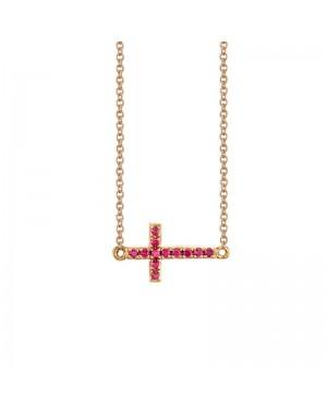 Colar Cruz em Ouro Rosé 18K e Rubi