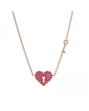 Colar Coração e Chave em Ouro Rosé 18K e Rubi