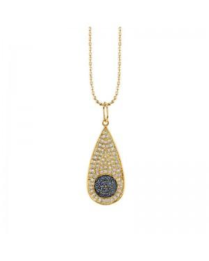 Colar Olho Grego em Ouro 18K com Safira e Diamantes