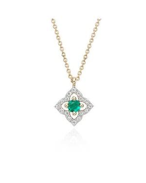 Colar Flor em Ouro 18K com Pedra Esmeralda e Diamantes