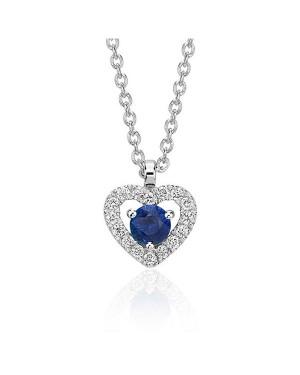 Colar Coração em Ouro Branco 18K com Pedra Safira e Diamantes