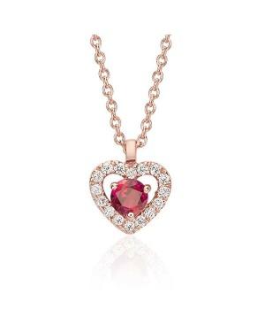 Colar Coração em Ouro Rosé 18K com Pedra Rubi e Diamantes