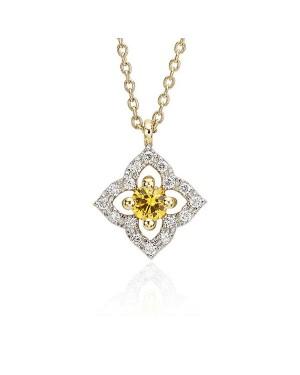 Colar Flor em Ouro 18K com Pedra Safira Amarela e Diamantes