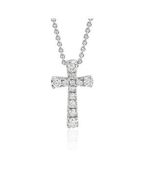 Colar Crucifixo em Ouro Branco 18K com Diamantes