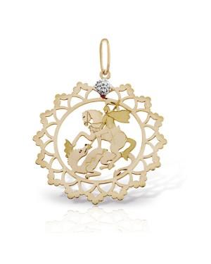 Pingente São Jorge em Ouro 18K com Diamante