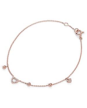 Pulseira Corações em Ouro Rosé 18K e Diamantes