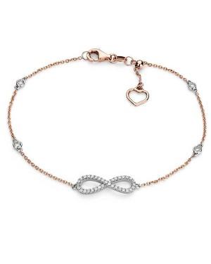 Pulseira Infinito em Ouro Branco e Rosé 18K e Diamantes