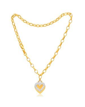 Tornozeleira em Ouro 18K Pingente Coração com Diamantes