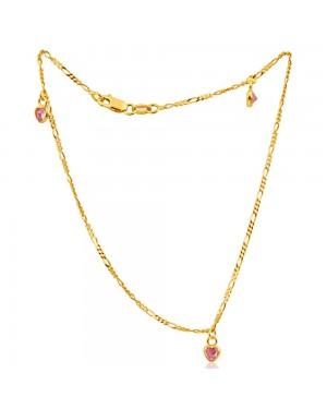 Tornozeleira em Ouro 18K Pingentes Coração Safira Pink