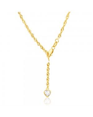 Tornozeleira em Ouro 18K com Pingente Coração em Diamante