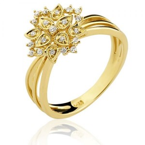 Anel em Ouro 18K em Filigrana com Diamantes