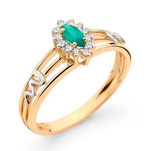 Anel Formatura em Ouro 18K com Pedra Natural Esmeralda e Diamantes