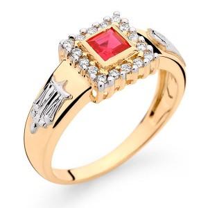 Anel Formatura em Ouro 18K com Pedra Natural Rubi e Diamantes