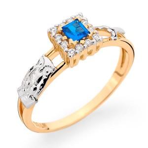 Anel Formatura em Ouro 18K com Pedra Natural Safira e Diamantes