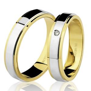 Par de Alianças em Ouro Branco e Dourado 18K com Diamantes
