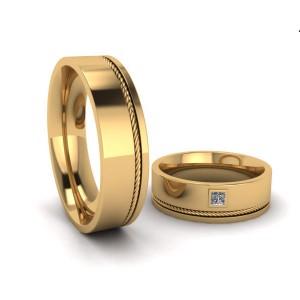 Par de Alianças em Ouro 18K com Diamantes Carré
