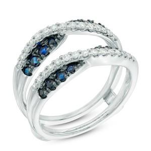 Anel em Ouro Branco 18K com Safira Azul e Diamantes
