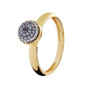 Anel em Ouro 18K com Pedras Topázio Safira e Diamantes