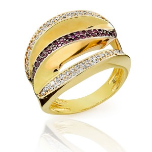 Anel em Ouro 18K com Pedras Rubi e Diamantes