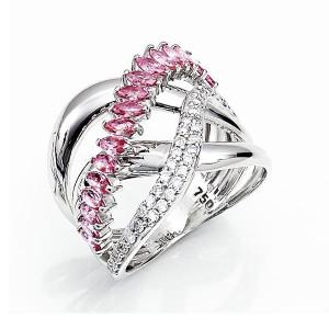 Anel em Ouro 18K com Pedra Topázio Rosa e Diamantes
