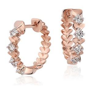 Brinco Argola em Ouro Rosé 18K com Diamantes