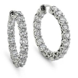 Brinco Argola em Ouro Branco 18K com Diamantes