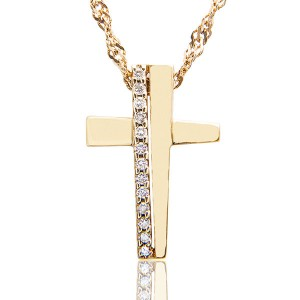 Colar Crucifixo em Ouro 18K e Diamantes