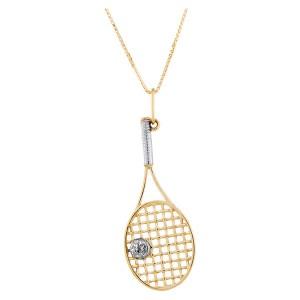 Colar Raquete de Tênis em Ouro 18K com Diamantes