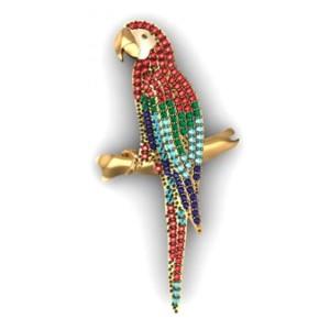 Pingente Arara em Ouro 18K com Esmeralda Rubi Safira Água Marinha e Diamantes
