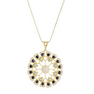 Colar Mandala em Ouro 18K com Pedras Safira Topázio e Diamantes