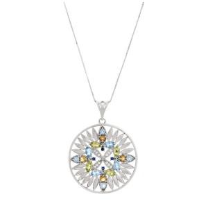 Colar Mandala em Ouro 18K com Pedras Safira Topázio Citrino e Diamante