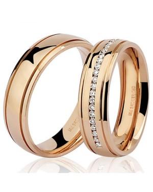 Par de Alianças em Ouro Rosé 18K com Diamantes