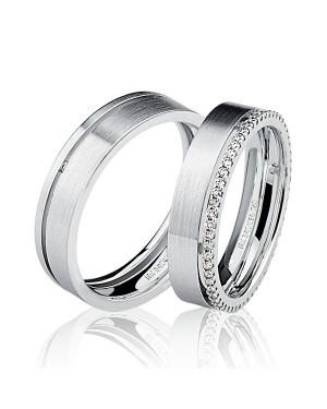 Par de Alianças em Ouro Branco 18K com Diamantes