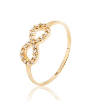 Anel Infinito em Ouro 18K com Diamantes