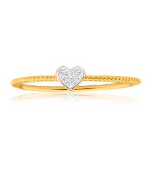 Anel Coração em Ouro 18K com Diamantes