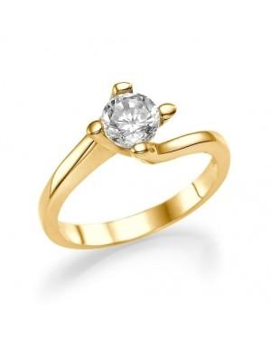 Anel Solitário em Ouro 18K e Diamante