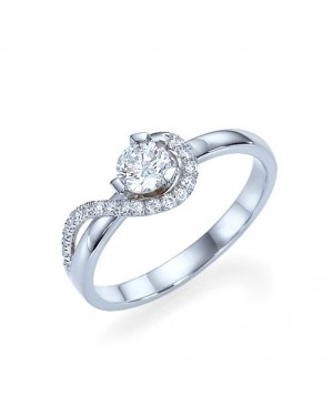 Anel Solitário em Ouro Branco 18K e Diamantes