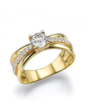 Anel Solitário em Ouro 18K e Diamantes