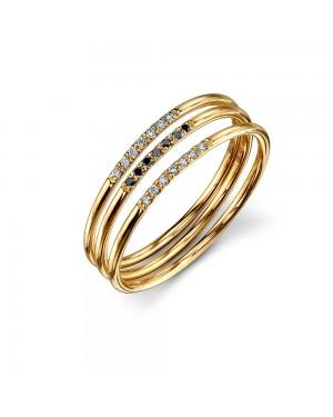 Anel em Ouro 18K com Diamantes Brancos e Negros