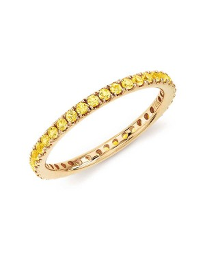 Anel em Ouro Branco 18K com Safiras Amarelas