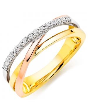 Anel em Ouro Amarelo Branco e Rosé 18K e Diamantes