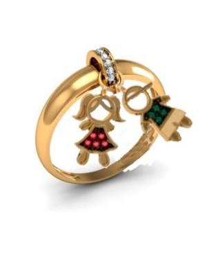 Anel com Pingentes em Ouro 18K com Rubis Esmeralda e Diamantes