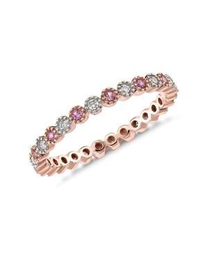 Anel em Ouro Rosé 18K com Safiras Pink e Diamantes