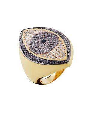 Anel em Ouro 18K com Pedras Ônix Topázio e Diamantes