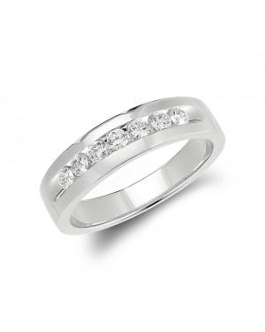 Anel Masculino em Ouro Branco 18K e Diamantes
