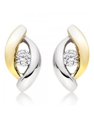 Brinco em Ouro Branco e Amarelo 18K e Diamantes