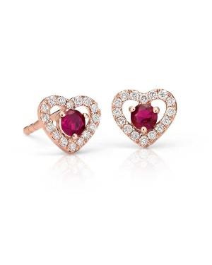 Brinco em Ouro Rosé 18K com Rubi e Diamantes