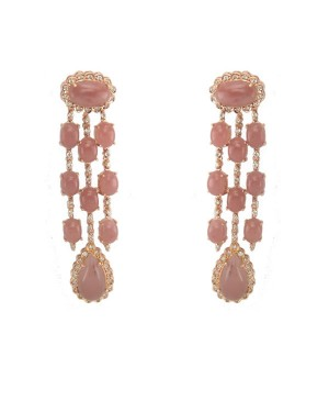 Brinco em Ouro 18K Pedras Nude Rosé e Diamantes