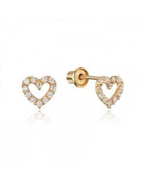 Brinco Coração em Ouro 18K e Diamantes
