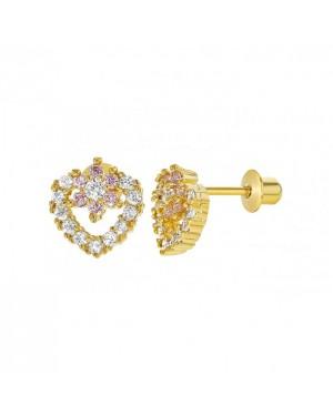Brinco Coração em Ouro 18K com Safira Pink e Diamantes